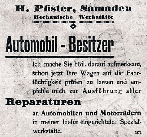 Historische Werbung Auto Pfister